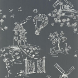 Around The World  Wallpaper | Meadowsweet - Blackboard | Wall coverings | Designers Guild