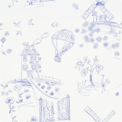 Around The World  Wallpaper | Meadowsweet - Denim | Papeles pintados | Designers Guild