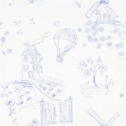 Around The World  Wallpaper | Meadowsweet - Cobalt | Papeles pintados | Designers Guild