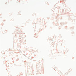 Around The World  Wallpaper | Meadowsweet - Poppy | Carta da parati | Designers Guild