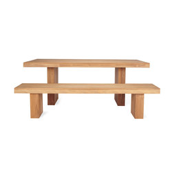 Kayu Teak Dining Table & Bench | Restaurant tables and benches | Design Within Reach