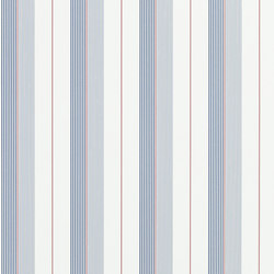 Signature Papers Wallpaper | Aiden Stripe - Navy / Red / White | Wall coverings | Designers Guild