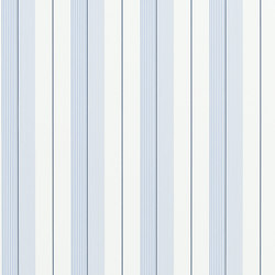 Signature Papers Wallpaper | Aiden Stripe - Blue / Navy / White | Papeles pintados | Designers Guild