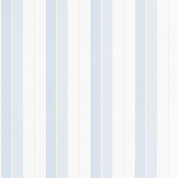 Signature Papers Wallpaper | Aiden Stripe - Blue / Yellow | Wall coverings | Designers Guild