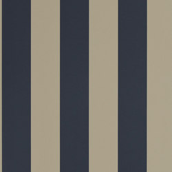 Signature Papers Wallpaper | Spalding Stripe - Navy / Sand | Wallcoverings | Designers Guild