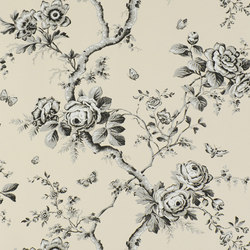 Signature Papers Wallpaper | Ashfield Floral - Etched Black | Papiers peint | Designers Guild