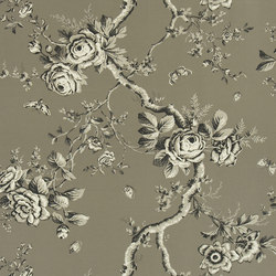 Signature Papers Wallpaper | Ashfield Floral - Gun Metal | Papeles pintados | Designers Guild