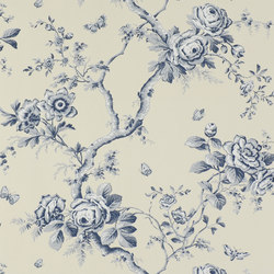 Signature Papers Wallpaper | Ashfield Floral - Sapphire | Wall coverings | Designers Guild