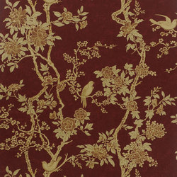 Signature Papers II Wallpaper | Marlowe Floral - Garnet | Carta da parati | Designers Guild