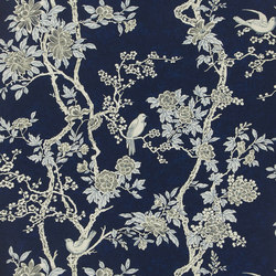 Signature Papers II Wallpaper | Marlowe Floral - Prussian Blue | Carta da parati | Designers Guild