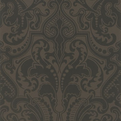 Signature Papers II Wallpaper | Gwynne Damask - Jet | Wallcoverings | Designers Guild