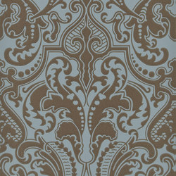 Signature Papers II Wallpaper | Gwynne Damask - Peacock | Wall coverings | Designers Guild