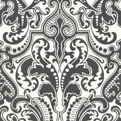 Signature Papers II Wallpaper | Gwynne Damask - Charcoal | Papeles pintados | Designers Guild