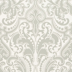 Signature Papers II Wallpaper | Gwynne Damask - Platinum | Wallcoverings | Designers Guild