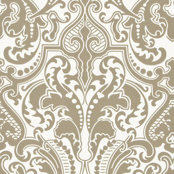Signature Papers II Wallpaper | Gwynne Damask - Gunmetal | Carta da parati | Designers Guild