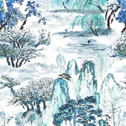 Shanghai Garden Wallpaper | Jade Temple - Cornflower | Wall coverings | Designers Guild