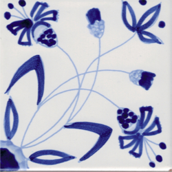 LR PO Fiore stilizzato blu | Bodenfliesen | La Riggiola