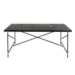 Dining Table 185 BRASS on BLACK - Green Marble | Esstische | HANDVÄRK