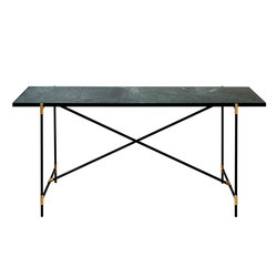 High Table BRASS on BLACK - Green Marble | Console tables | HANDVÄRK