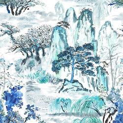 Shanghai Garden Fabrics | Jade Temple - Cornflower | Tissus pour rideaux | Designers Guild
