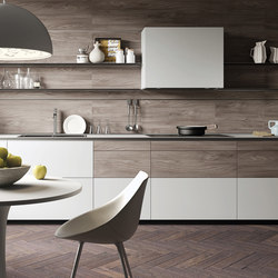 Forma Mentis | Glass and Melamine Wood Finish Door | Fitted kitchens | Valcucine