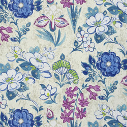 Amrapali Fabrics | Lotus Flower - Teal | Curtain fabrics | Designers Guild