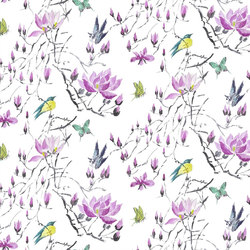 Orangerie Fabrics | Madame Butterfly Ii - Amethyst | Tissus pour rideaux | Designers Guild