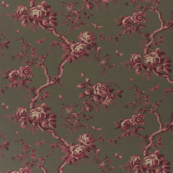 Signature Ashdown Manor Fabrics | Ashfield Floral - Scarlet | Curtain fabrics | Designers Guild