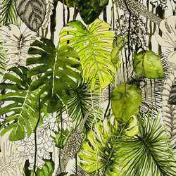 Belles Rives Fabrics | Soft Jardin Exo Chic - Caviar | Tejidos para cortinas | Designers Guild