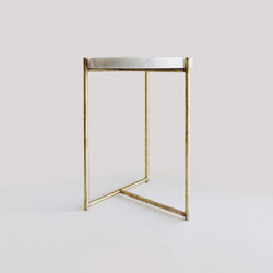 Side tables-Tables-Oliver Marble Tray Side Table Brass-Evie Group