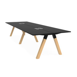 Frankie bench desk wooden A-leg | Mesas multimedia | Martela