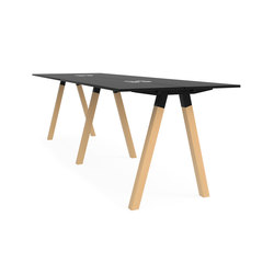 Frankie bench desk high wooden A-leg 110cm | Mesas contract | Martela