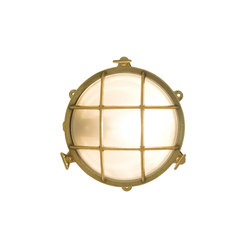 7029 Brass Bulkhead with External Fixing via Feet, Polished Brass | General lighting | Davey Lighting Limited