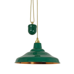 7200 Rise & Fall School Light, Painted Green Polished Copper Interior | Allgemeinbeleuchtung | Davey Lighting Limited