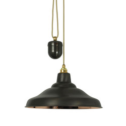 7200 Rise & Fall School Light, Weathered Copper, Polished Copper Interior | General lighting | Davey Lighting Limited