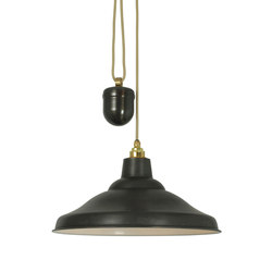 7200 Rise & Fall School Light, Weathered Copper, White Interior | General lighting | Original BTC