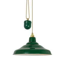 7200 Rise & Fall School Light, Painted Green, White Interior | General lighting | Original BTC
