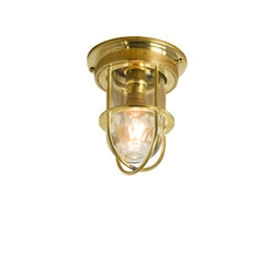 7202 Miniature Ship's Companionway Light & Guard, Polished Brass, Clear Glass | Iluminación general | Davey Lighting Limited