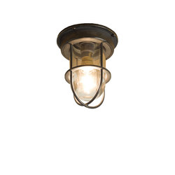 7202 Miniature Ship's Companionway Light & Guard, Weathered Brass, Clear Glass | Éclairage général | Davey Lighting Limited
