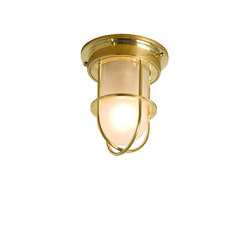 7202 Miniature Ship's Companionway Light & Guard, Polished Brass, Frosted Glass | General lighting | Davey Lighting Limited