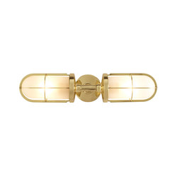 7208 Weatherproof Ship's Double Well Glass, Polished Brass, Frosted Glass | Éclairage général | Davey Lighting Limited
