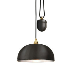 7300 Dome Rise & Fall Pendant, Black, White Interior | Iluminación general | Davey Lighting Limited