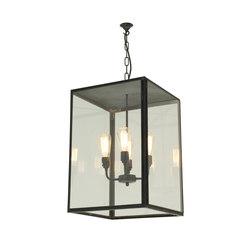 7638 Square Pendant, XL & 4 L/H, Closed Top, Weathered Brass, Clear Glass | Iluminación general | Original BTC