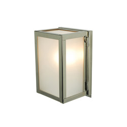 7643 Miniature Box Wall Light, Internal Glass, Polished Nickel Frosted Glass | Allgemeinbeleuchtung | Davey Lighting Limited