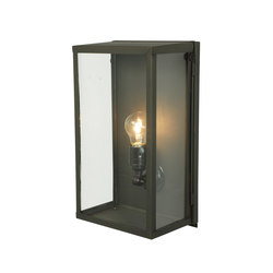 7645 Box Wall Light, Internal Glass, Medium, Weathered Brass, Clear Glass | Illuminazione generale | Davey Lighting Limited
