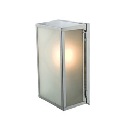 7645 Box Wall Light, Internal Glass, Medium, Satin Nickel, Frosted Glass | Iluminación general | Davey Lighting Limited