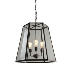 7651 Hex Pendant, Extra Large, Weathered Brass, Clear Glass | General lighting | Davey Lighting Limited