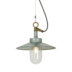 7680 Well Glass Pendant With Visor, Galvanised, Clear Glass, IP44 | General lighting | Davey Lighting Limited