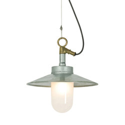 7680 Well Glass Pendant With Visor, Galvanised, Frosted Glass, IP44 | General lighting | Davey Lighting Limited