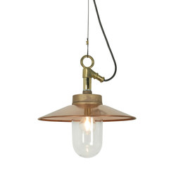 7680 Well Glass Pendant With Visor, Gunmetal, Clear Glass, IP44 | General lighting | Davey Lighting Limited